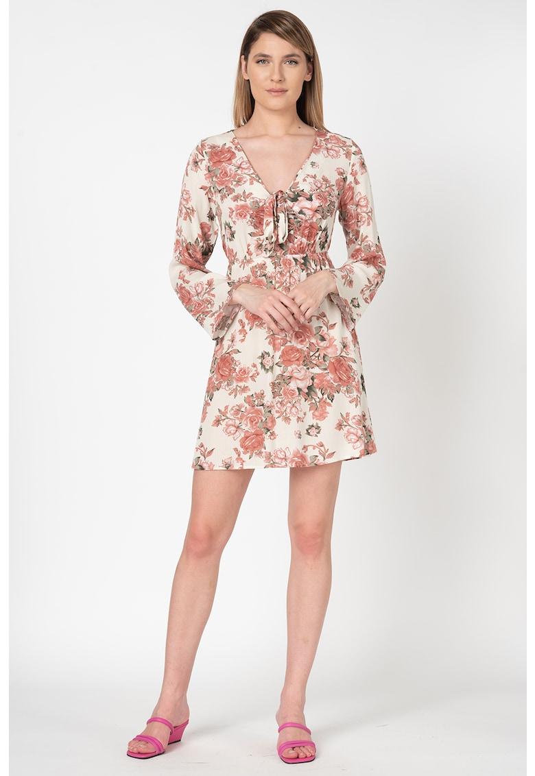 Rochie mini cu imprimeu floral si decolteu in V Lulu