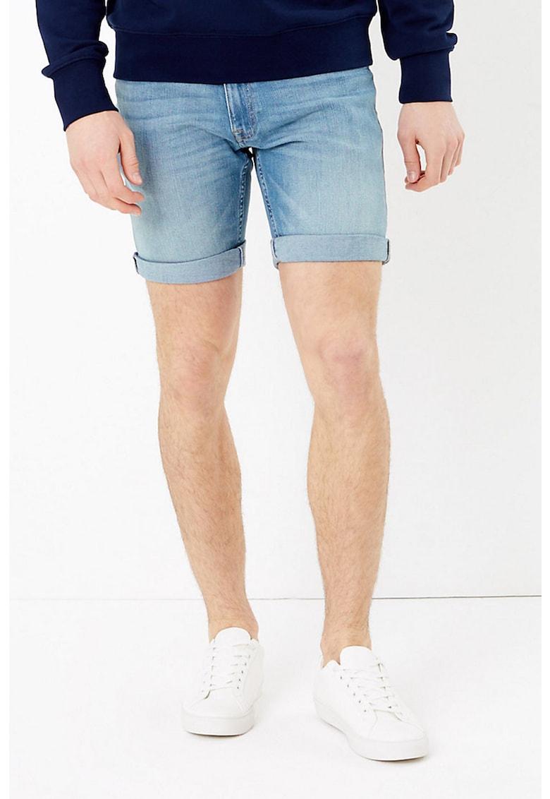 Pantaloni scurti slim fit elastici din denim imagine