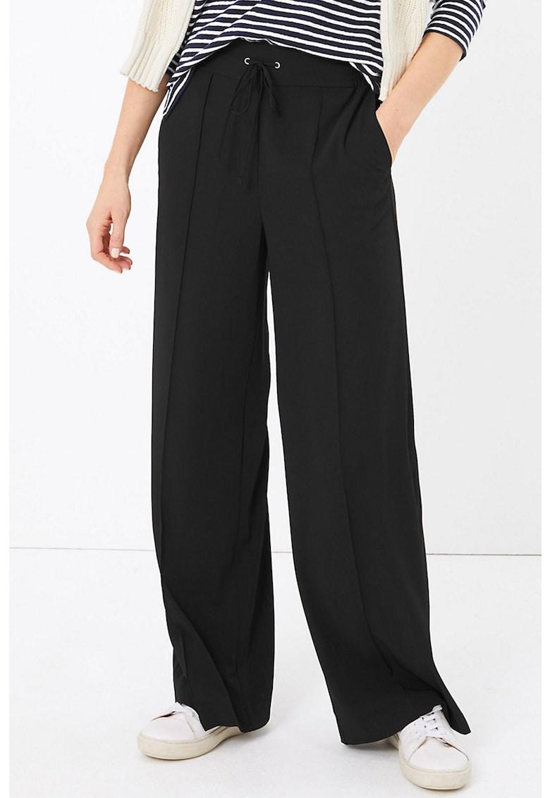Pantaloni cu croiala ampla si talie cu snur de ajustare