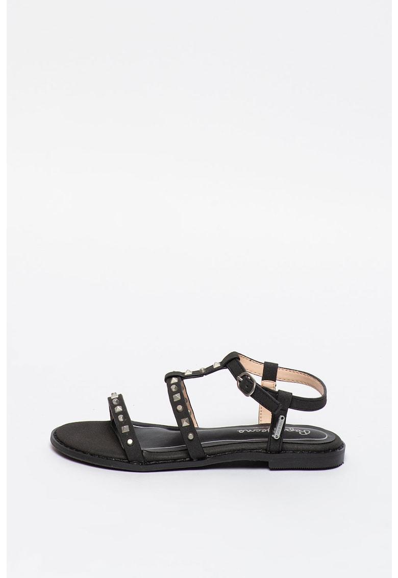 Sandale de piele ecologica - cu barete multiple si tinte Elsa