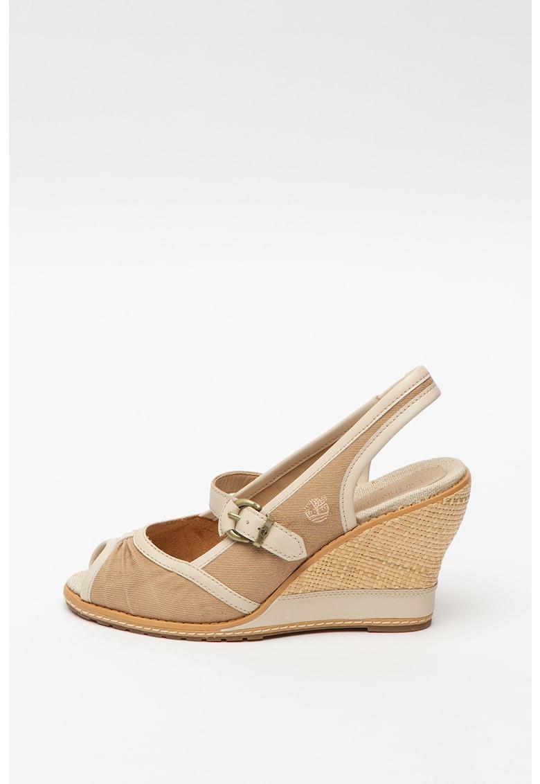 Sandale cu talpa wedge si insertii din piele Mae