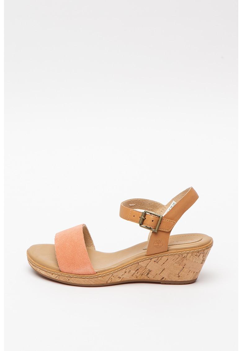 Sandale din piele si piele intoarsa cu talpa wedge Whitter