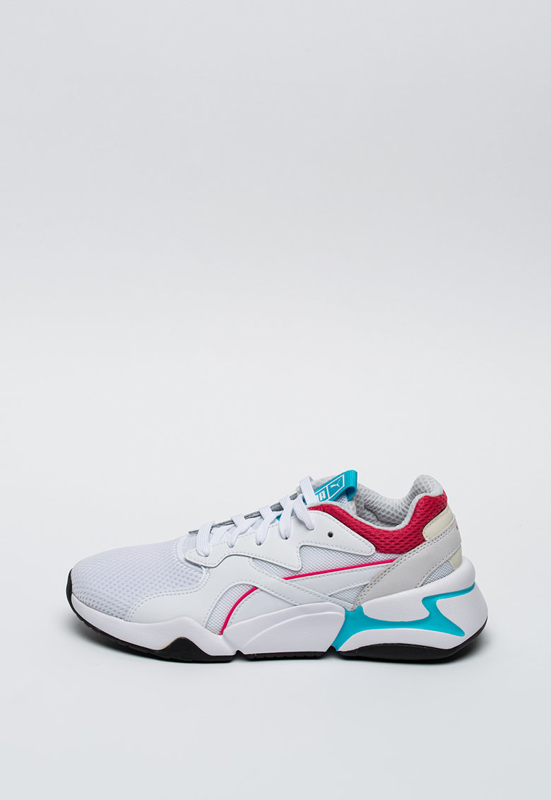 Pantofi sport de piele si plasa - cu detalii contrastante Nova
