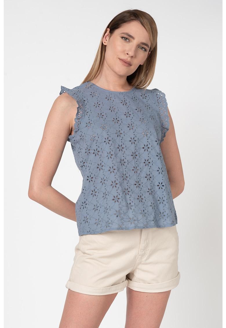 Bluza fara maneci cu broderie Sangallo Destiny imagine fashiondays.ro