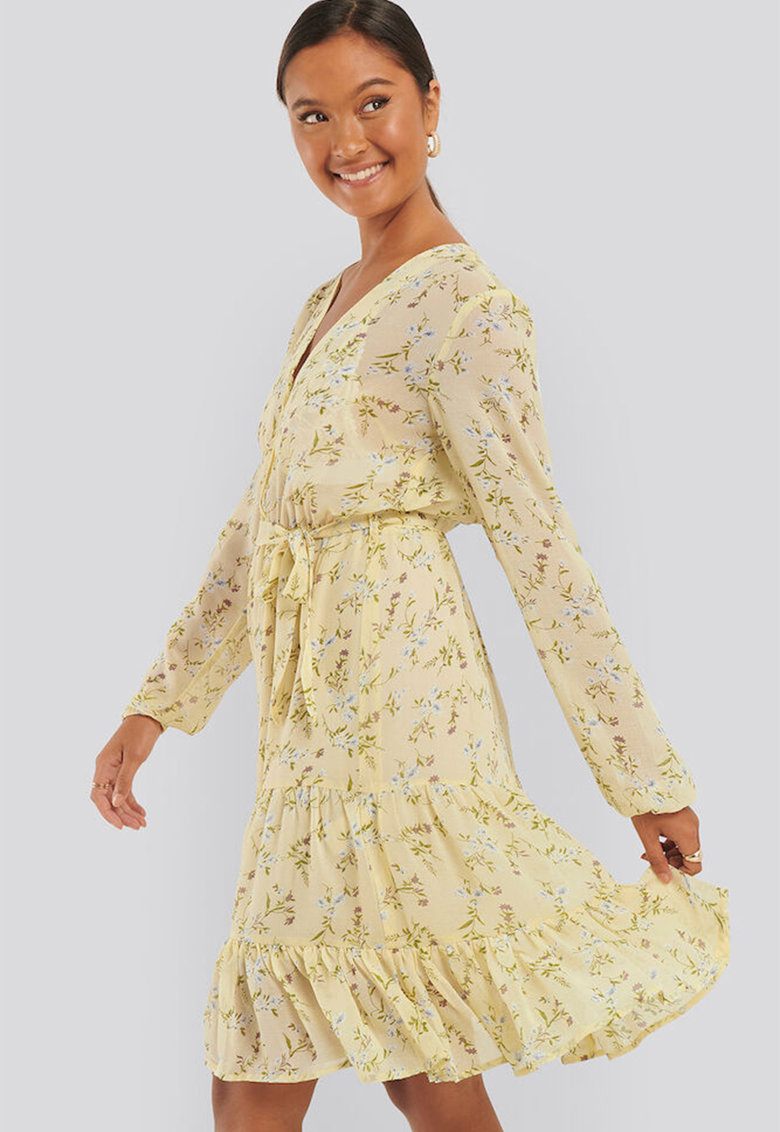 Rochie midi cu imprimeu floral si decolteu cache-coeur