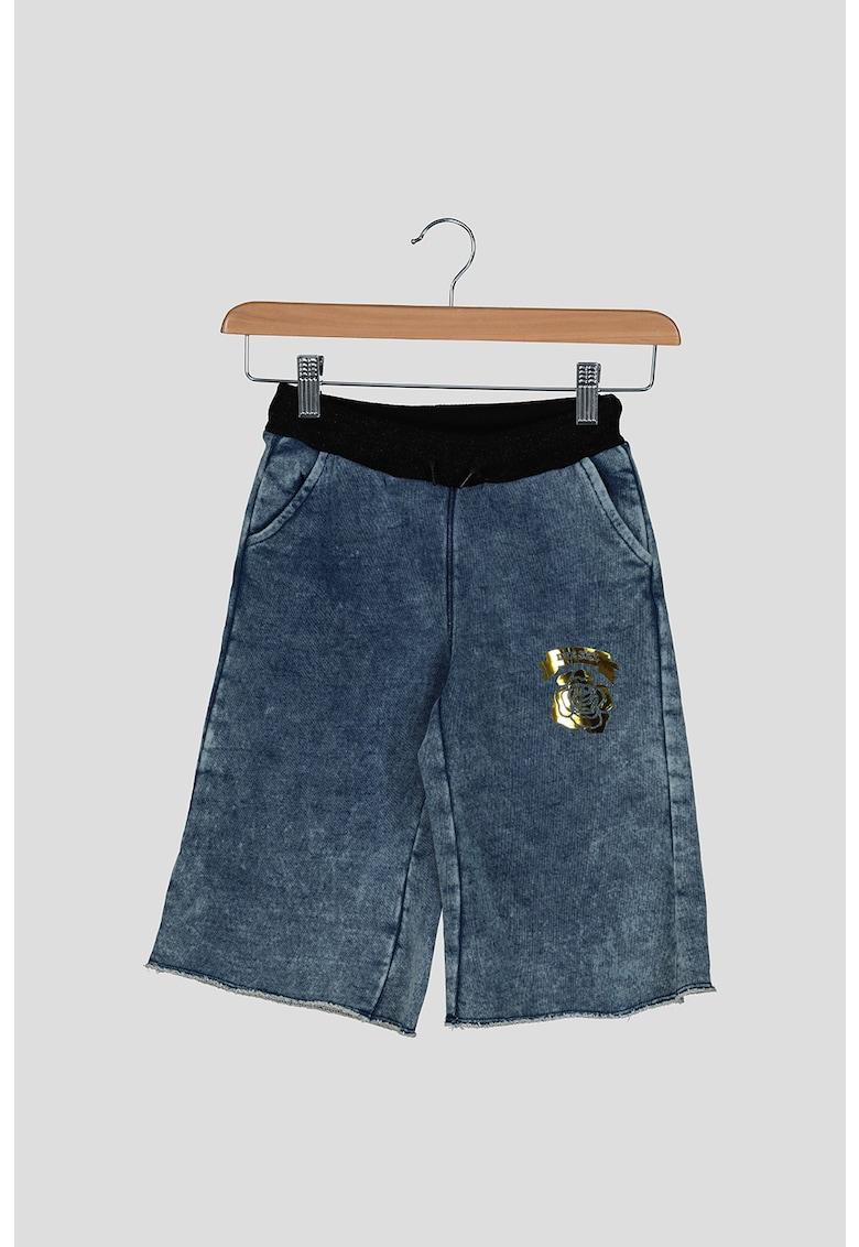 Pantaloni culotte de denim cu aspect decolorat