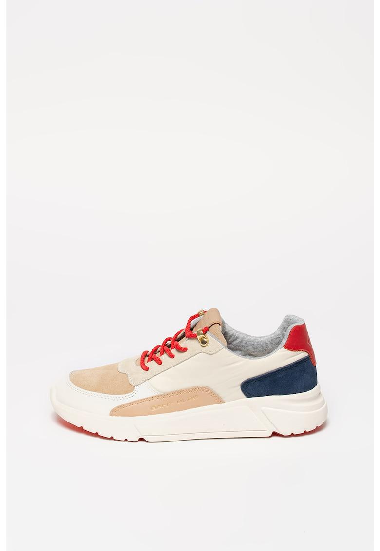 Pantofi sport cu model colorblock si garnituri de piele si piele intoarsa Cocoville