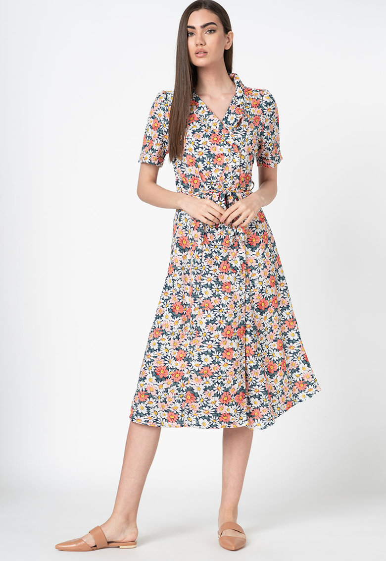 Rochie tip camasa cu imprimeu floral Heidaisy