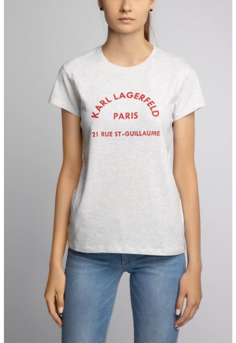 Tricou cu decolteu la baza gatului si imprimeu logo imagine fashiondays.ro