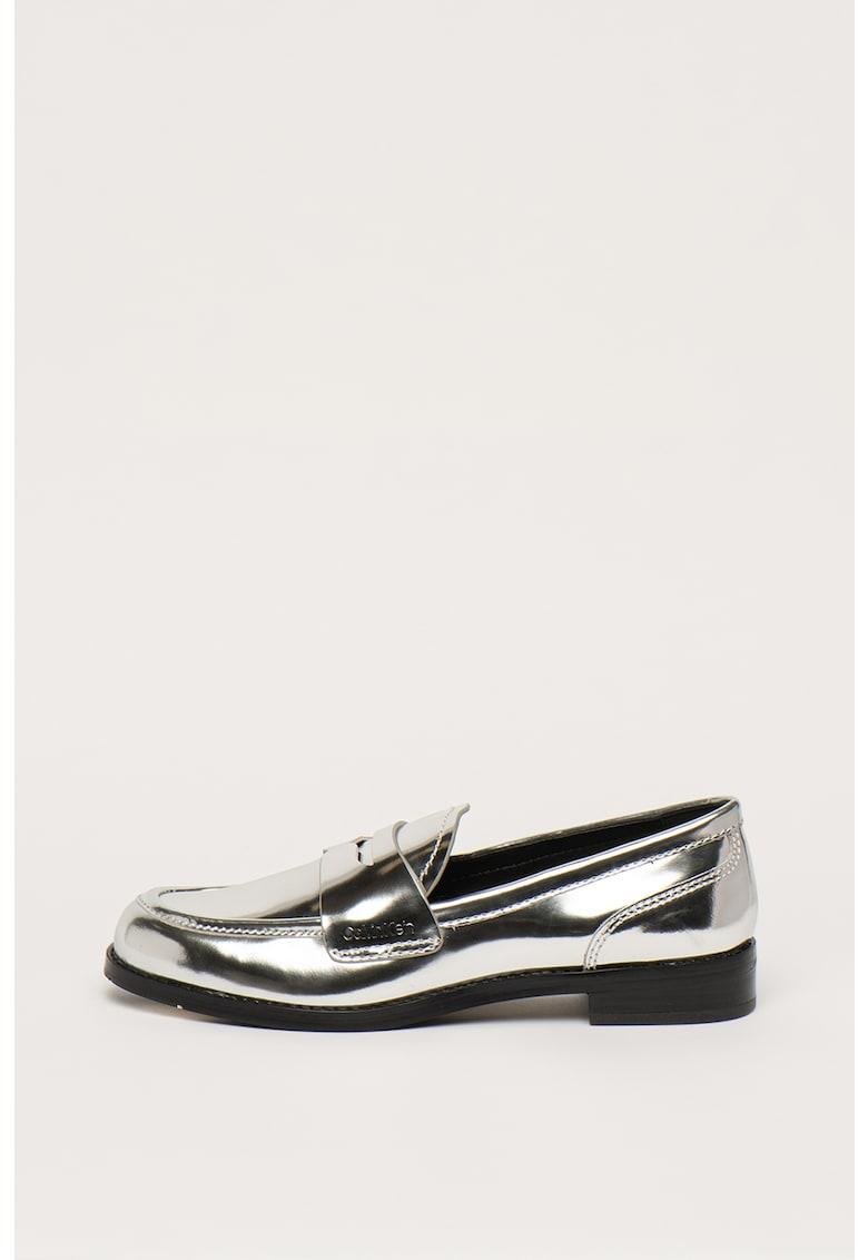 Pantofi loafer din piele cu aspect metalizat Shanti
