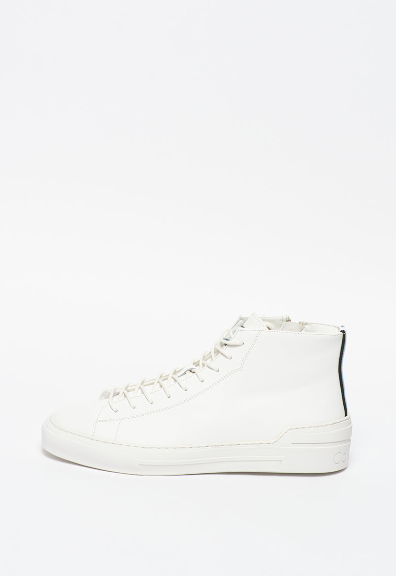Pantofi sport high top de piele peliculizata Okey