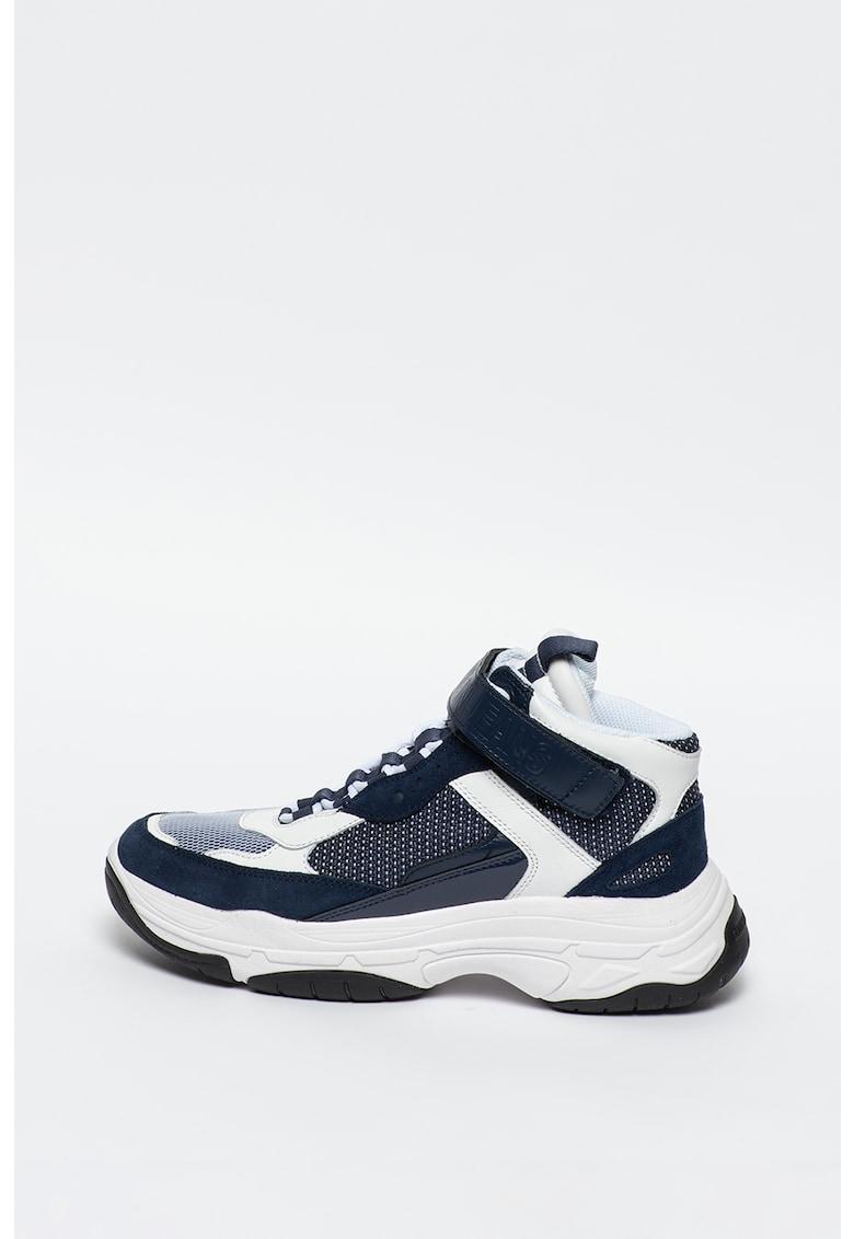 Pantofi sport mid-high cu insertii din plasa si piele intoarsa Mordikai