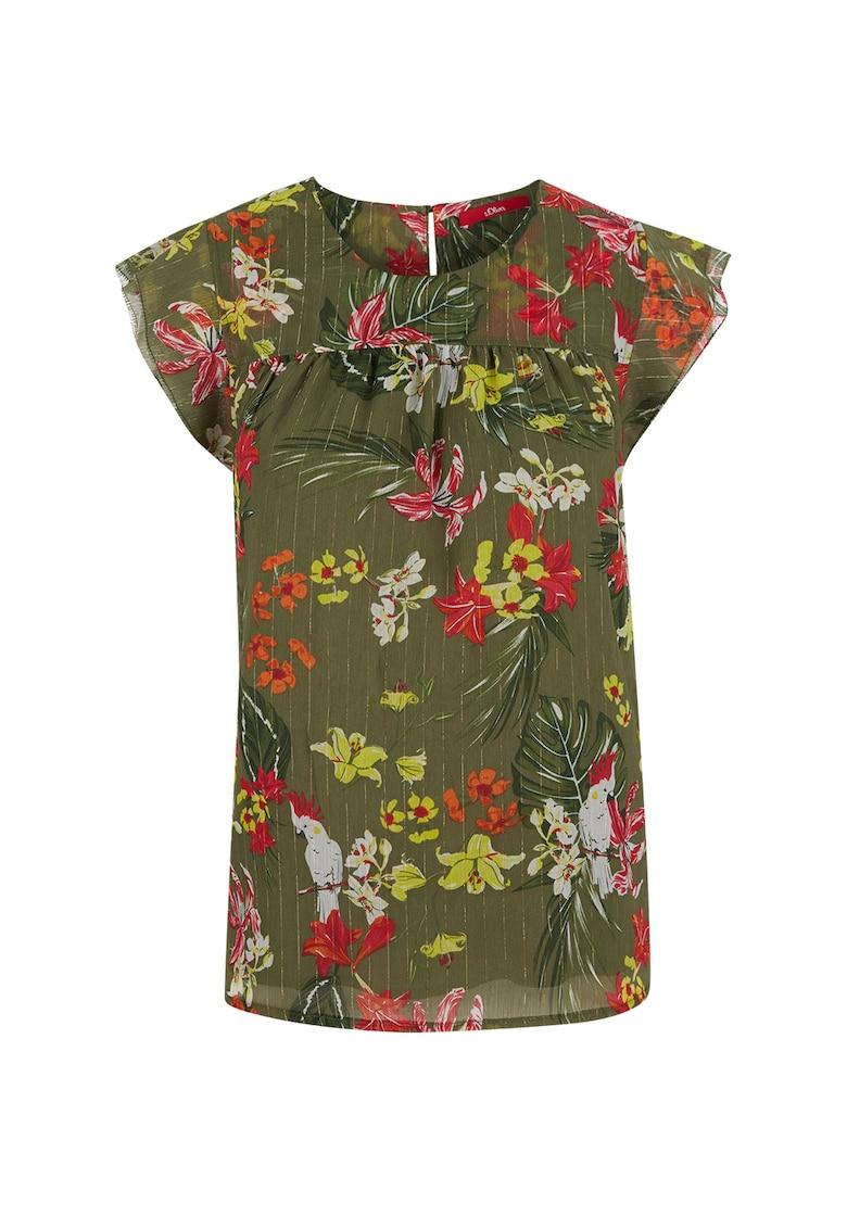 Bluza cu model floral si maneci cu volane fashiondays.ro