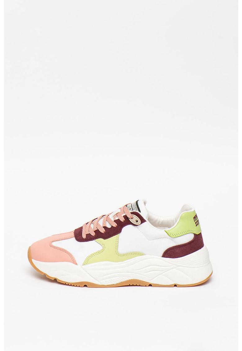 Pantofi sport din piele cu insertii din piele intoarsa Celest