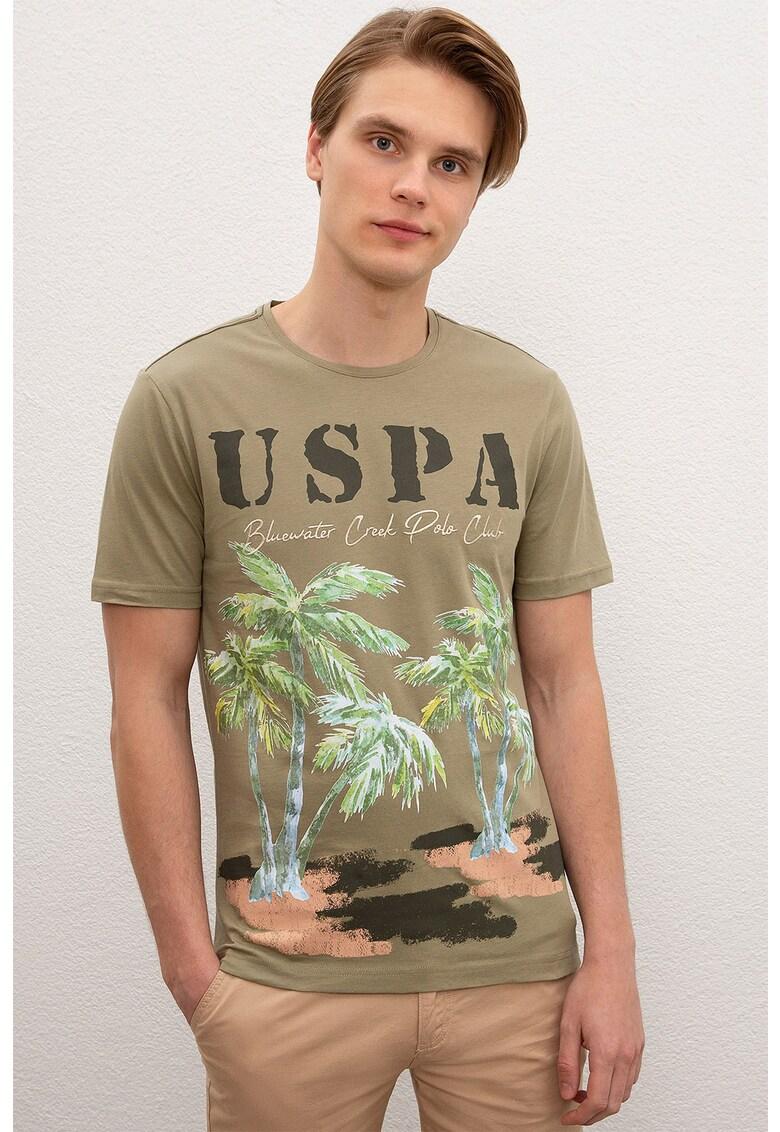 Tricou cu imprimeu logo si tropical