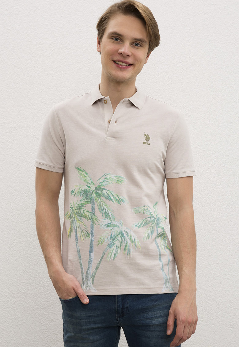 Tricou polo slim fit cu imprimeu tropical