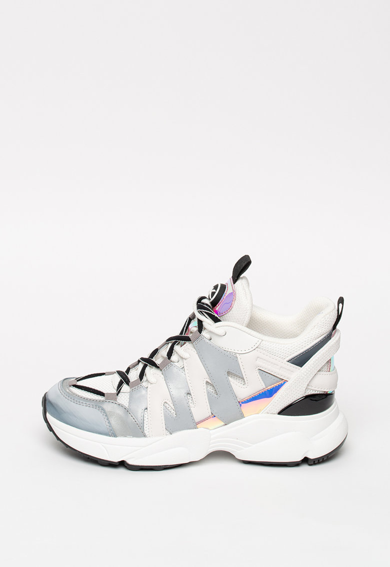 Pantofi sport wedge de piele ecologica - cu insertii de plasa Hero