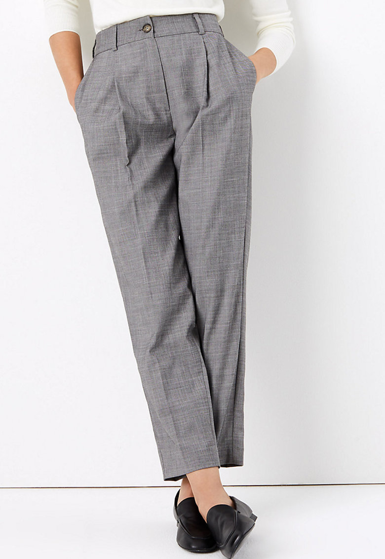 Pantaloni conici cu talie inalta imagine fashiondays.ro