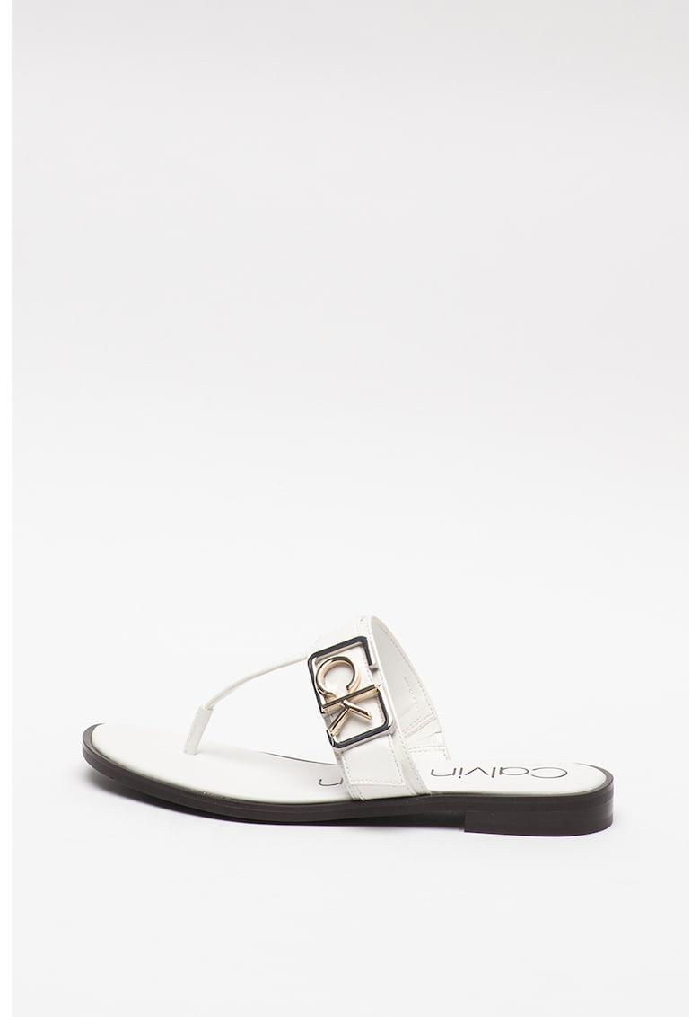 Papuci cu bareta separatoare si logo metalic Tamura