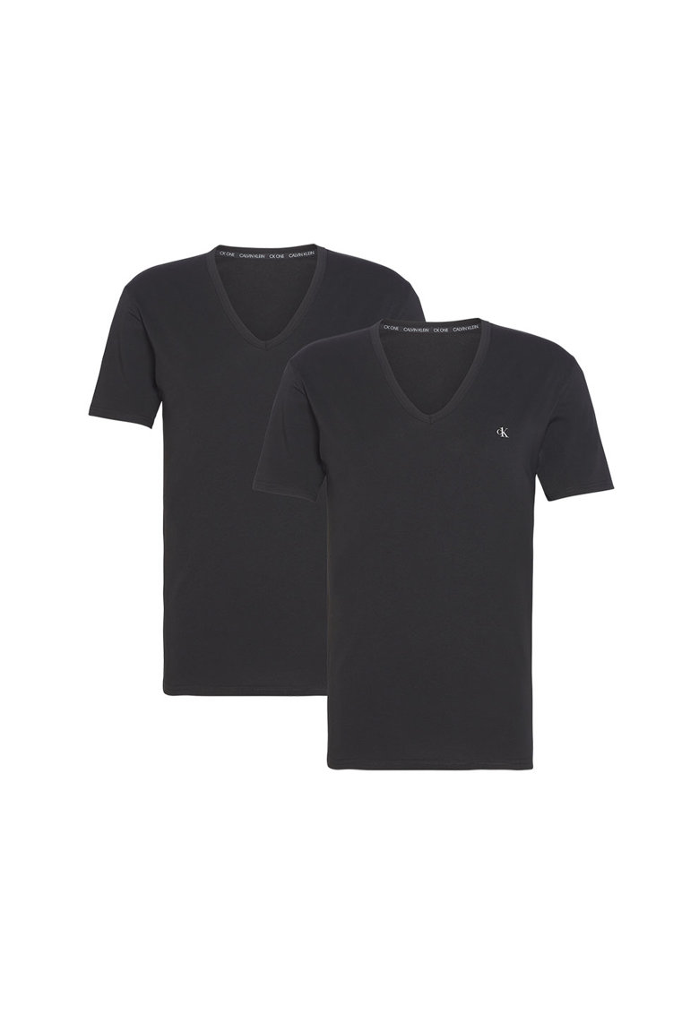 Set de 2 tricouri de casa cu decolteu in V imagine