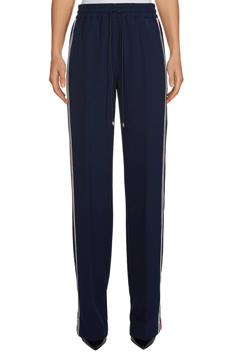 Pantaloni relaxed fit cu benzi laterale contrastante