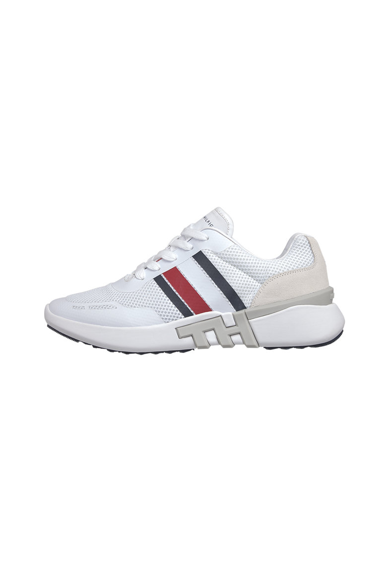 Pantofi sport din plasa cu insertii din piele intoarsa 1