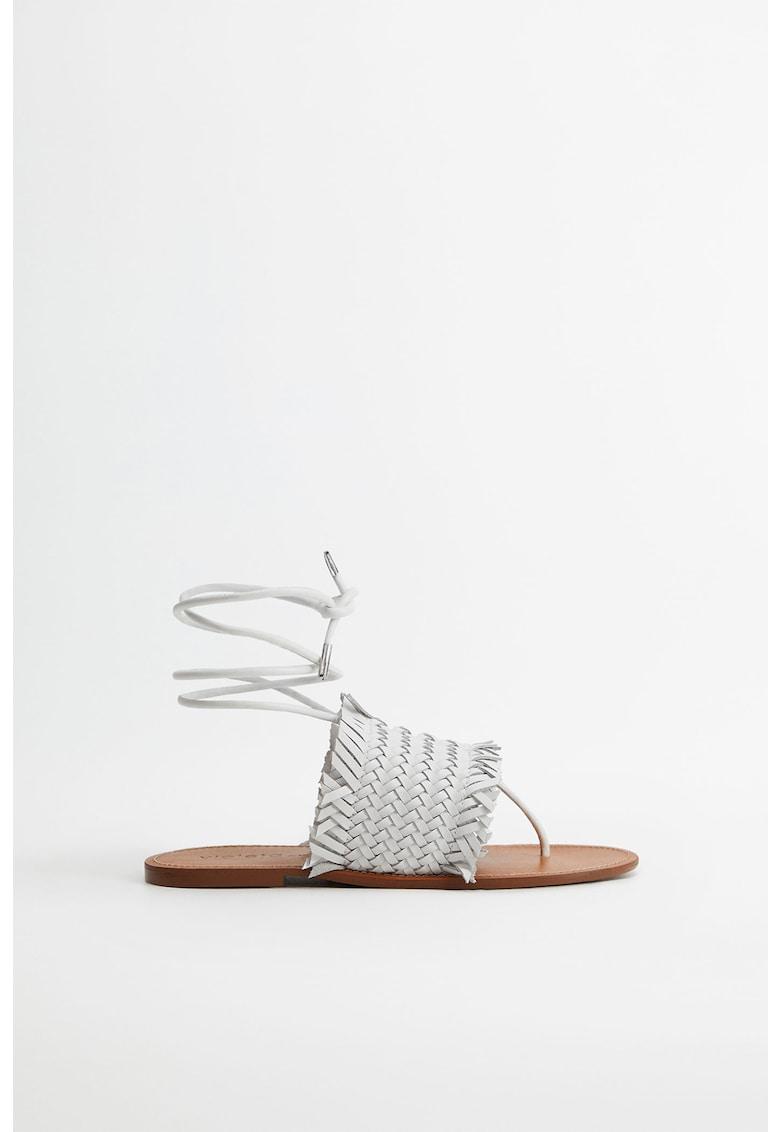 Sandale din piele cu aspect impletit Sueno VIOLETA-BY-MANGO imagine 2021