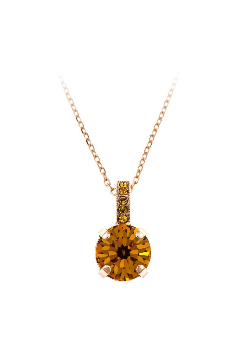 Colier cu placaj de aur rose de 24K si cristale Swarovsky