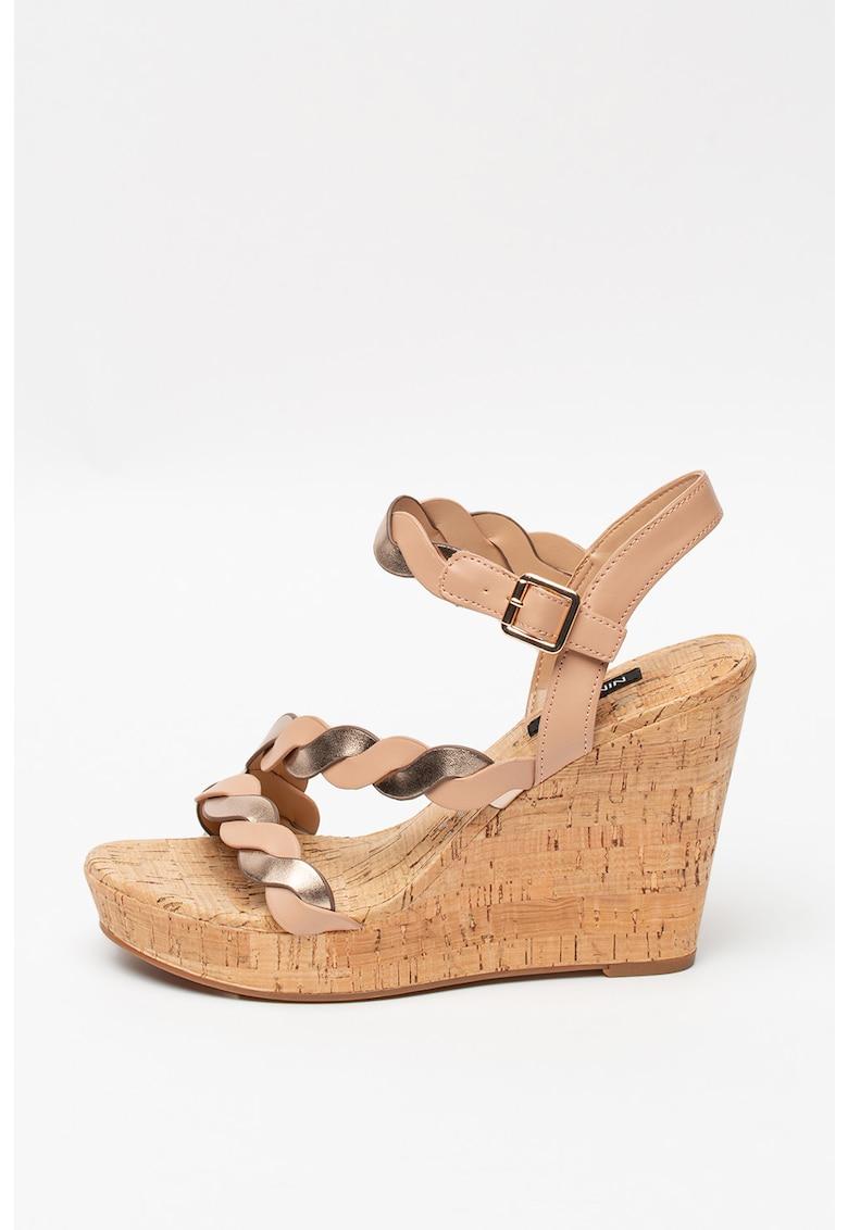Sandale wedge de piele ecologica Brette