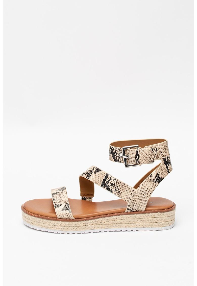 Sandale de piele ecologica cu model piele de reptila Chaya