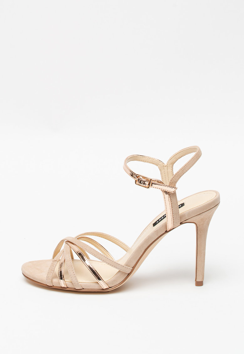 Sandale cu toc inalt si insertii de piele intoarsa Miranda