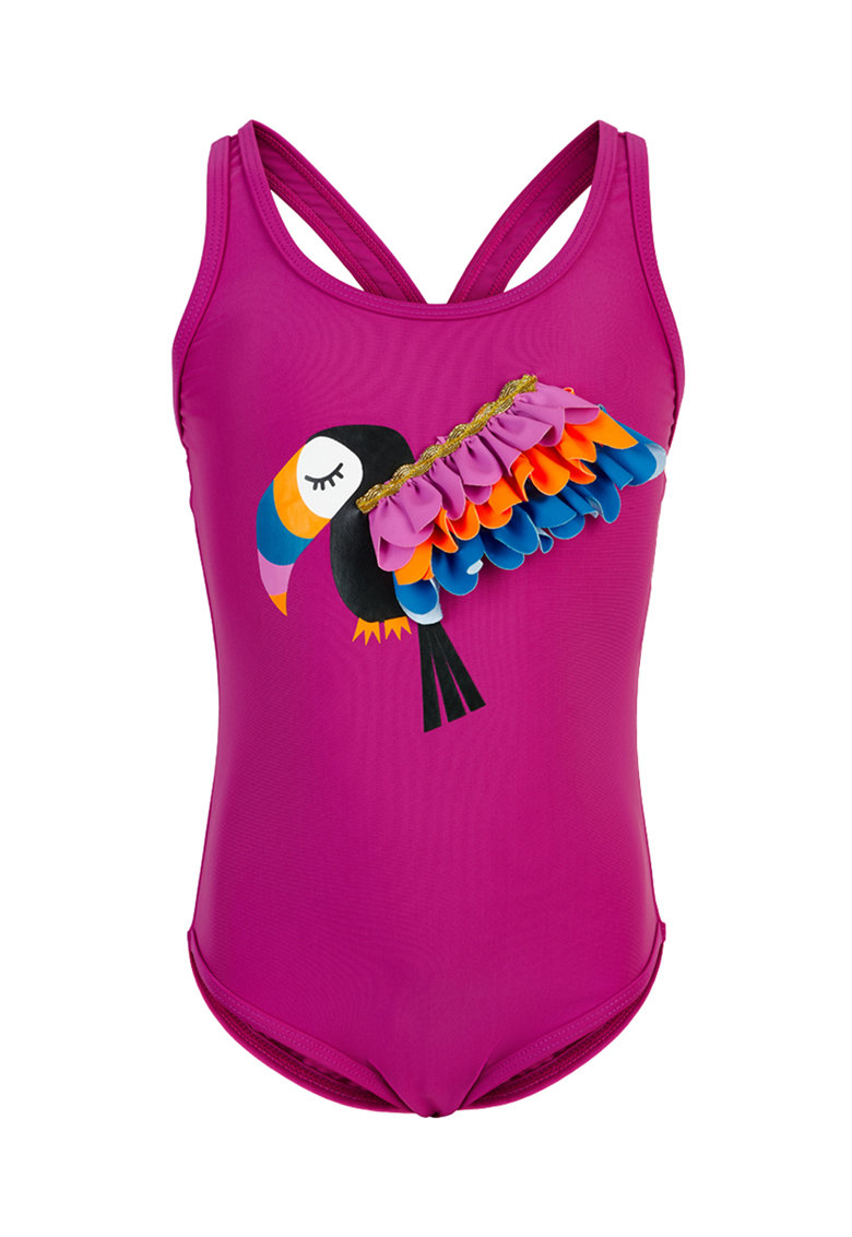 Costum de baie intreg cu model flamingo imagine promotie