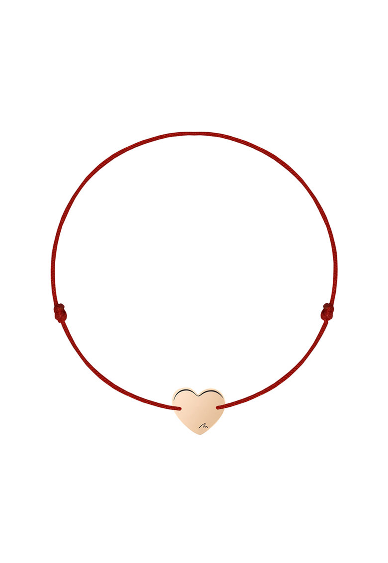Bratara cu talisman inima placat cu aur rose de 14K