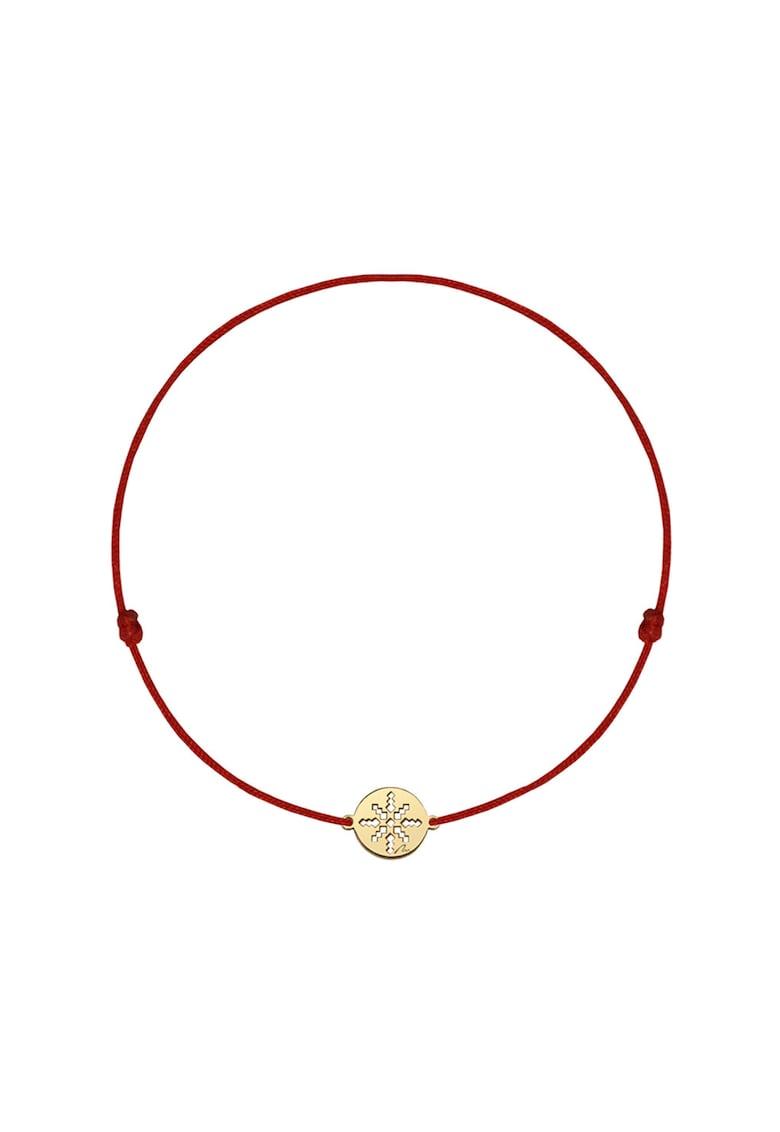 Bratara cu snur si talisman placat cu aur de 14K imagine fashiondays.ro MALVENSKY