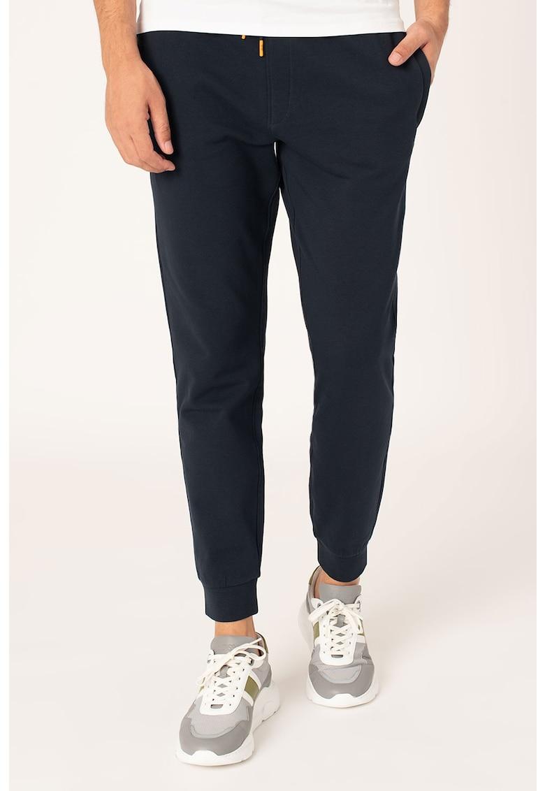 Pantaloni sport slim fit cu segmente elastice la nivelul gleznei