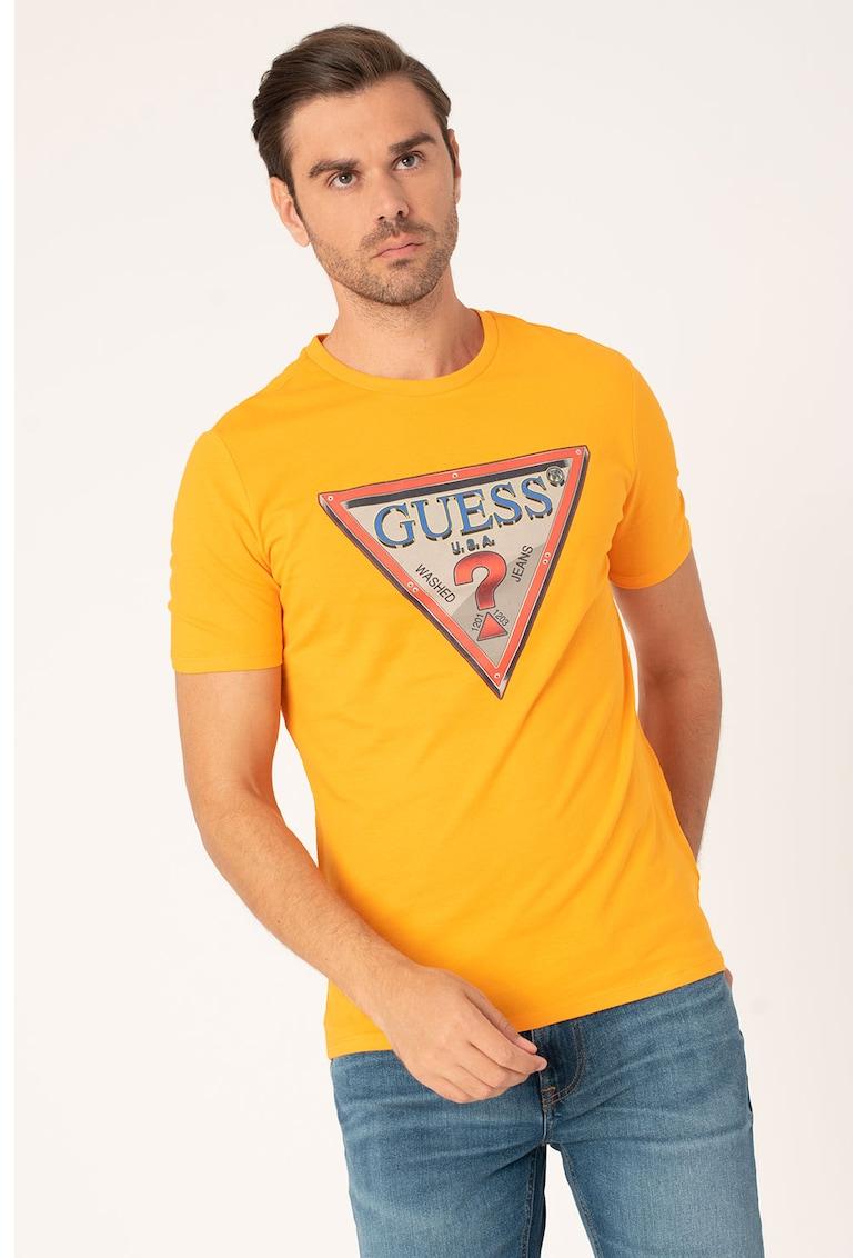 Tricou slim fit cu logo triunghiular