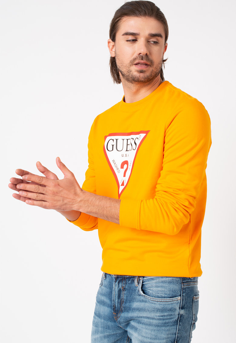 Bluza sport cu decolteu la baza gatului si imprimeu logo de la GUESS JEANS