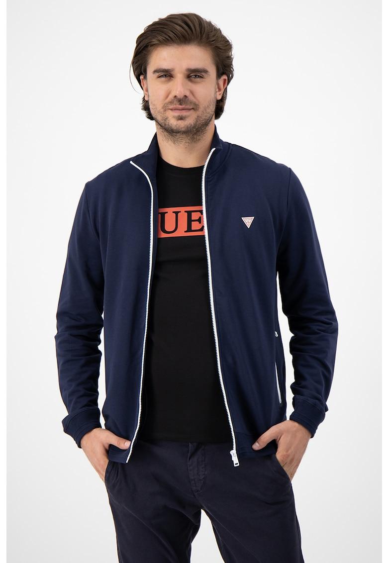 Bluza sport cu fermoar si detaliu logo pe piept