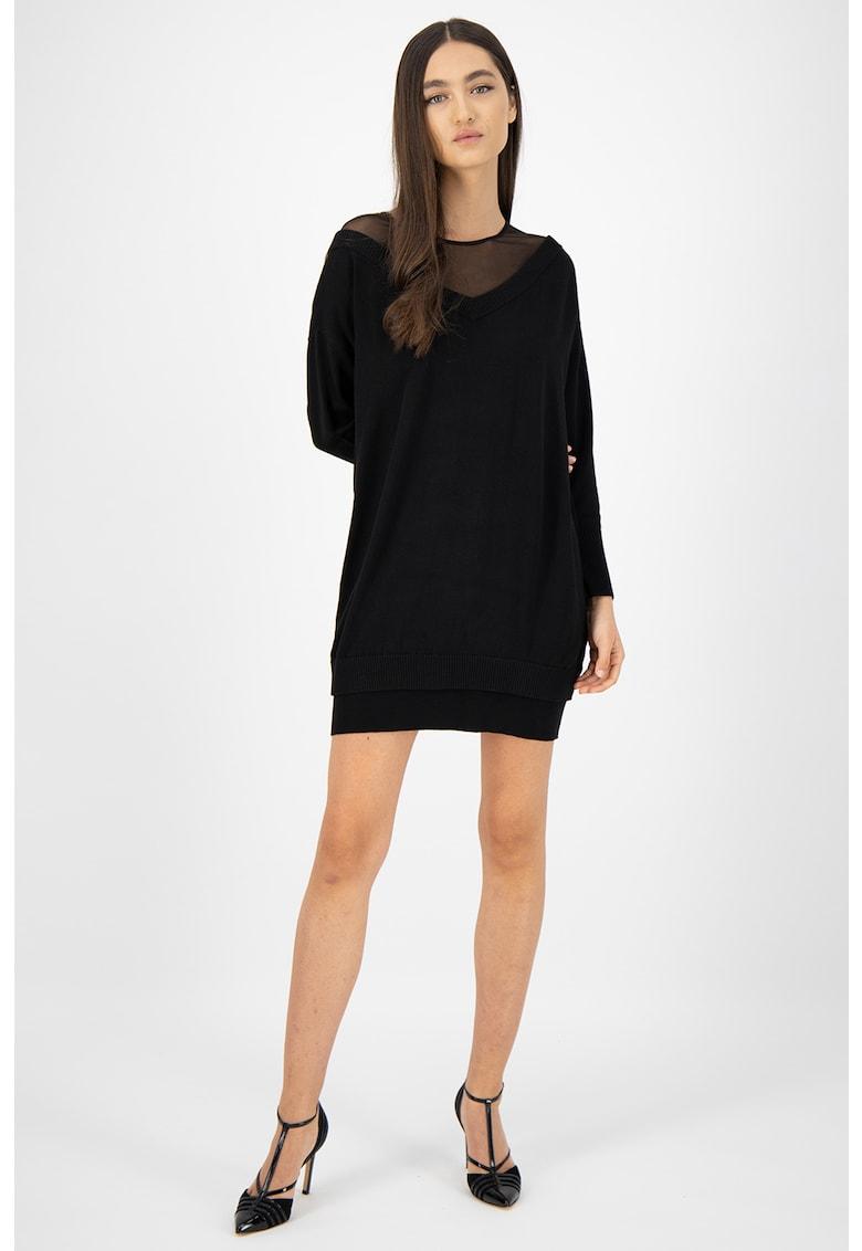 Rochie tip pulover cu aspect 2 in 1 si detaliu de plasa