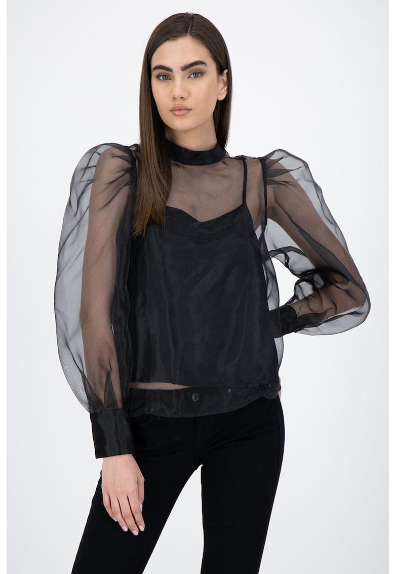 Bluza semi-transparenta cu maneci bufante