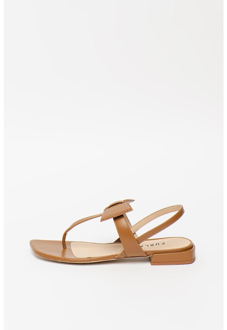 Sandale de piele cu bareta separatoare si funda