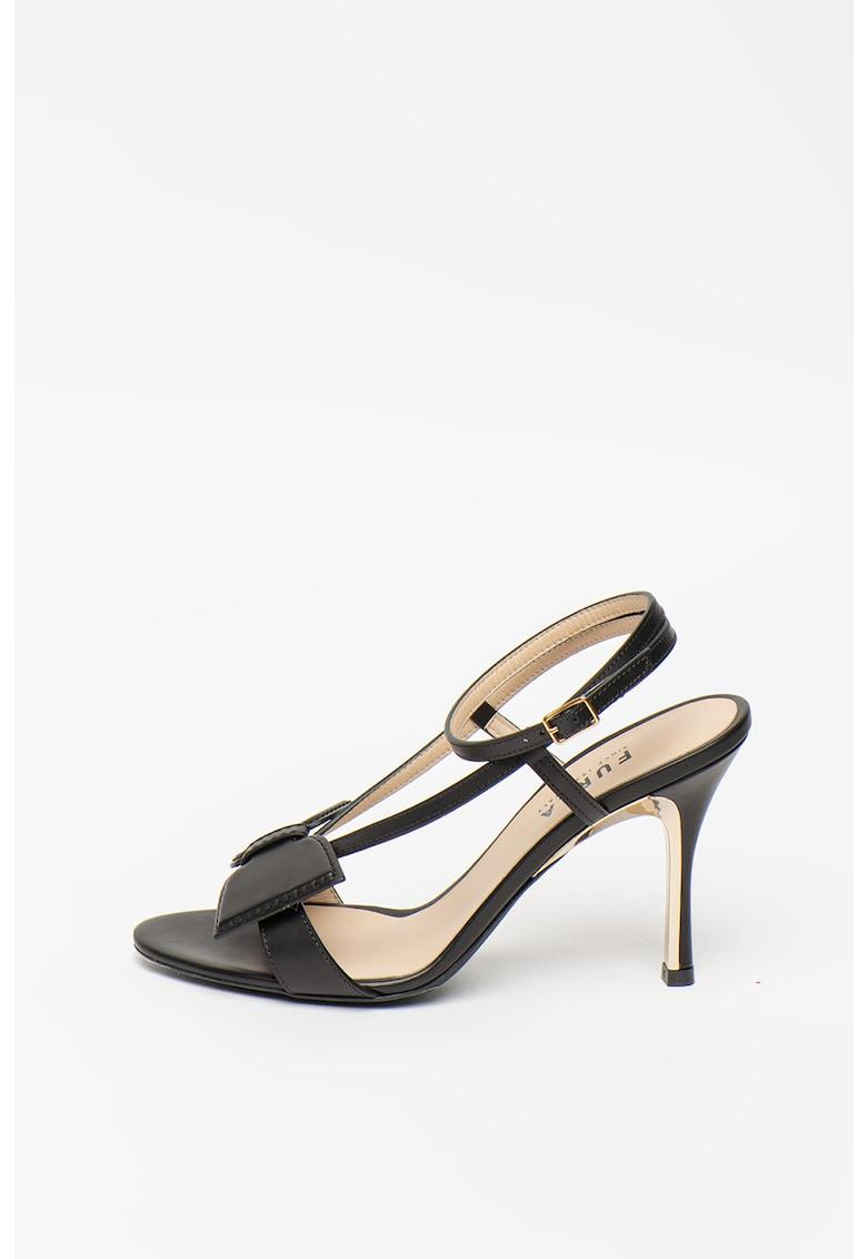 Sandale de piele cu toc inalt si funda