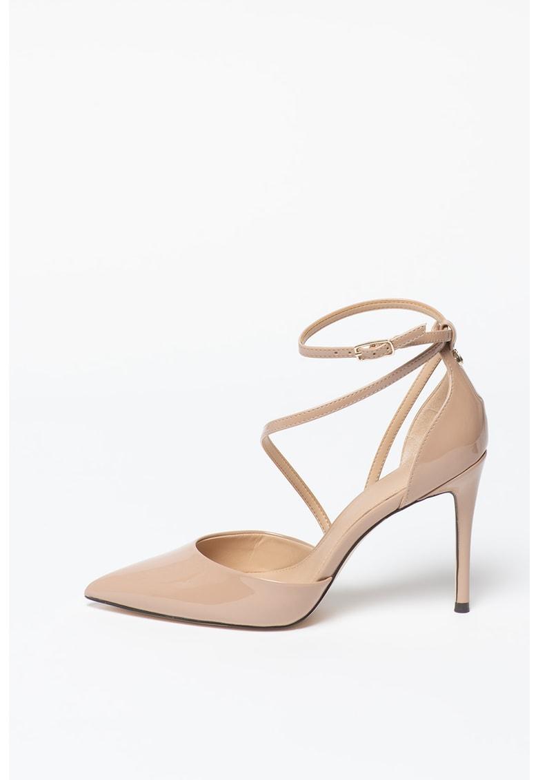 Pantofi stiletto de piele ecologica cu toc inalt si aspect lacuit