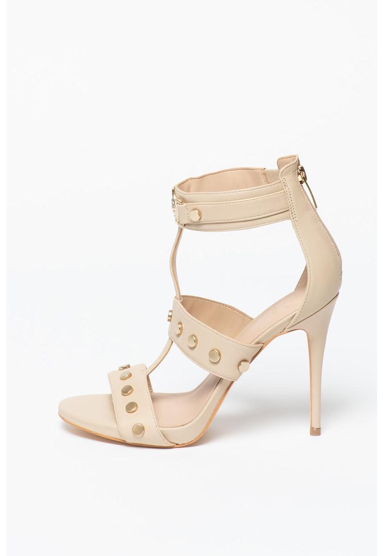 Sandale din piele cu barete multiple si tinte