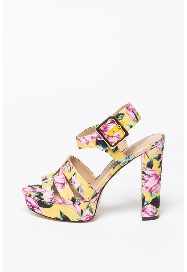 Sandale cu imprimeu floral si toc masiv