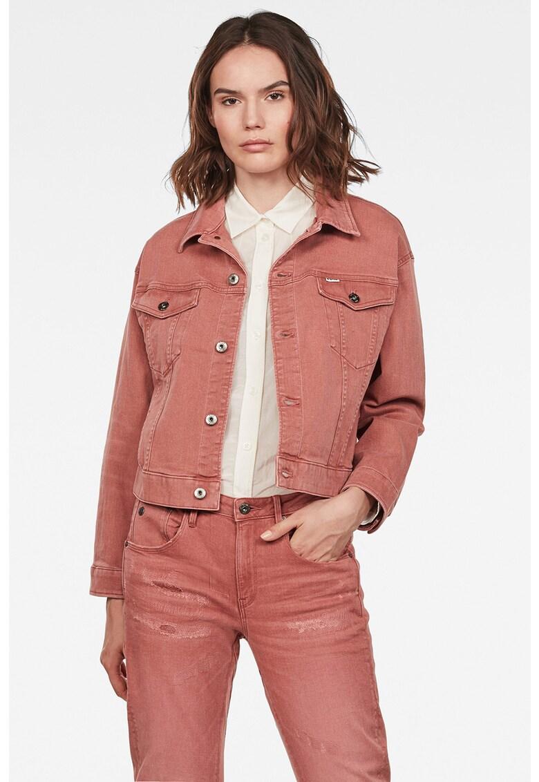 Jacheta de denim cu guler ascutit imagine