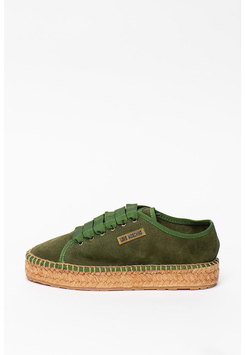 Pantofi sport tip espadrile de piele intoarsa