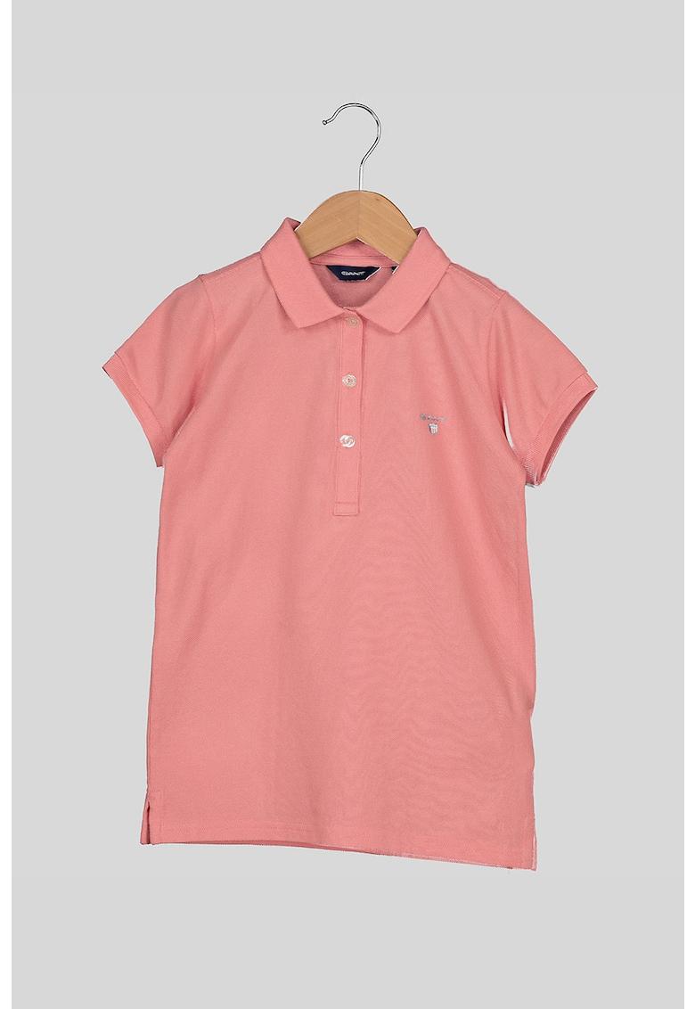 Tricou polo din material pique - cu broderie logo discreta