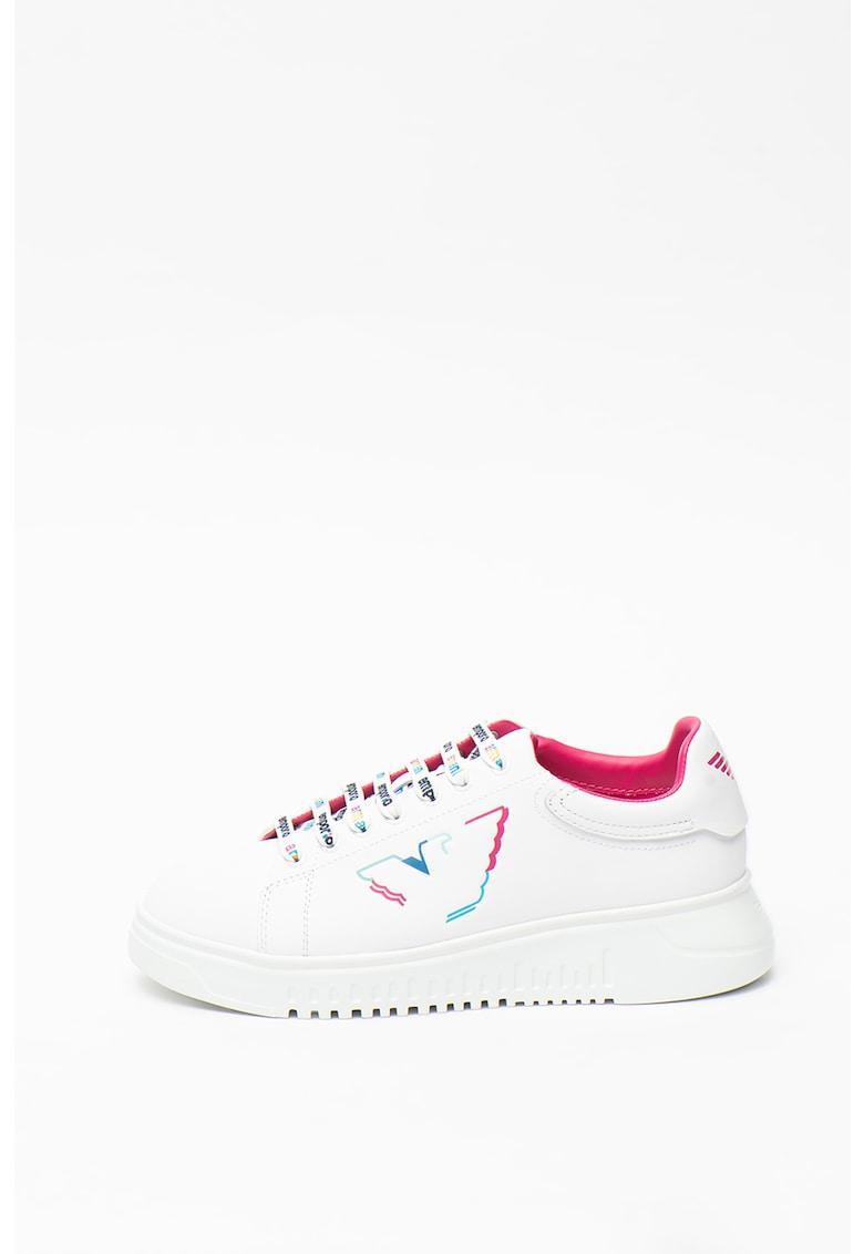 Pantofi sport de piele - cu logo pe sireturi