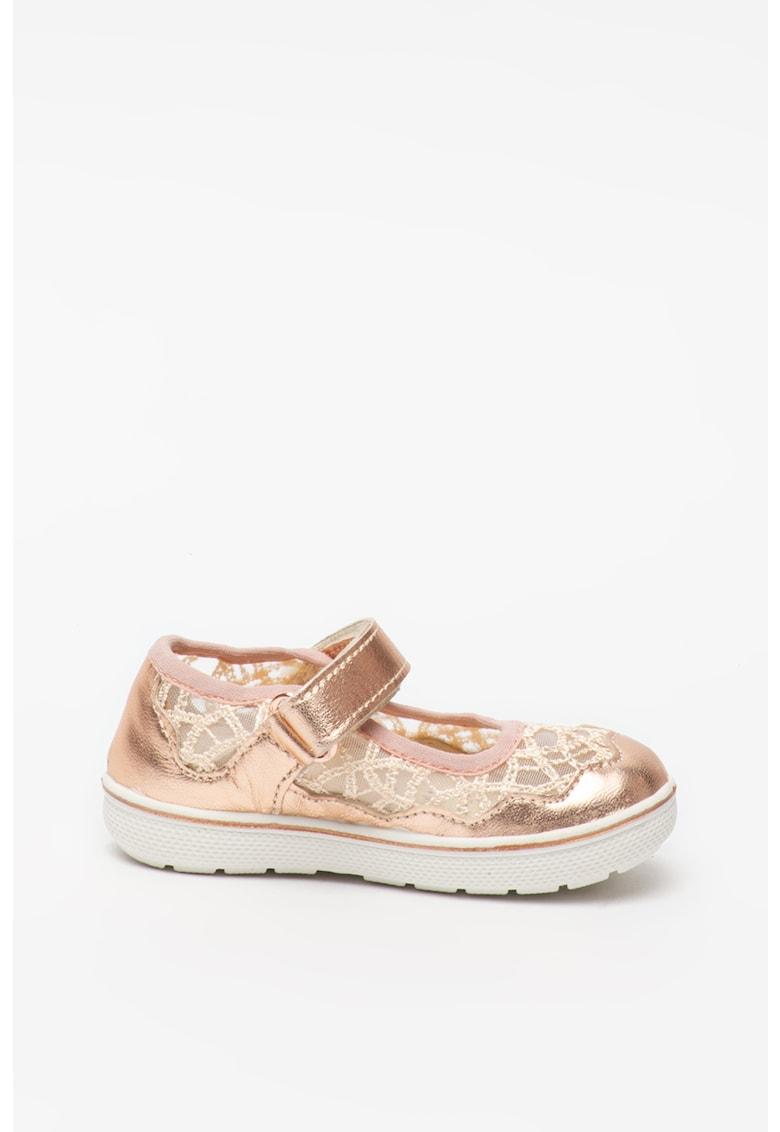 Pantofi Mary Jane de piele cu insertii de plasa